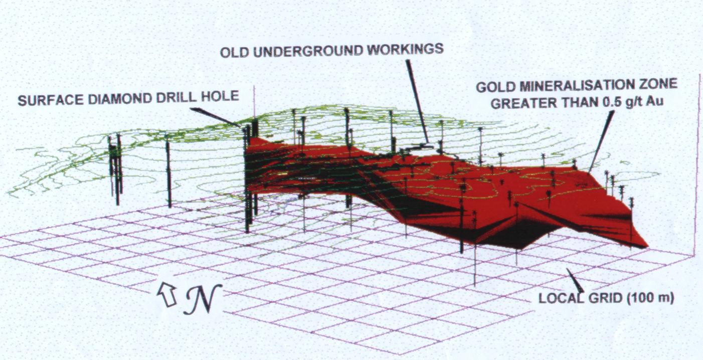 A Lahóca aranyérc 3D modellje a fúrásos kutatásokat követően, 1997