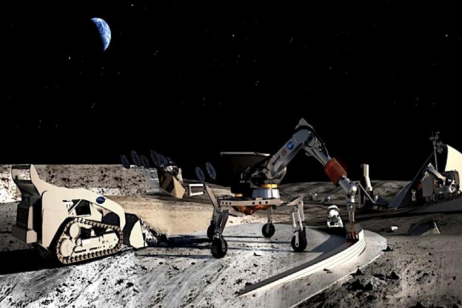 Fantáziarajz az űrbányészatról. Forrás: mining.com (https://www.mining.com/water-from-near-earth-asteroids-could-fuel-space-mining/)